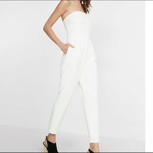 Express White Strapless Jumpsuit